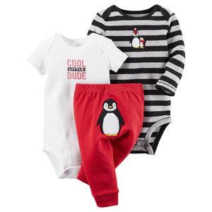 Baby Boy 3-Piece Bodysuit Pant Set Penguin Clothes